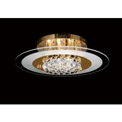 Diyas IL32022 Delmar French Gold/Glass/Crystal 6 Light Flush Round Light