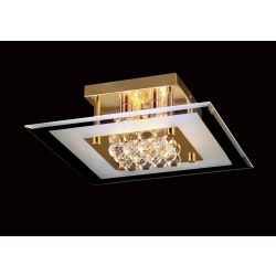 Diyas IL32023 Delmar French Gold/Glass/Crystal 4 Light Square Flush Light