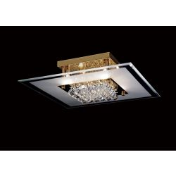 Diyas IL32024 Delmar French Gold/Glass/Crystal 6 Light Square Flush Light