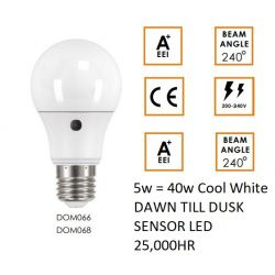 Venture LED 5W = 40W Edison Screw ES/E27 Dusk till Dawn Sensor Light Bulb, Cool White