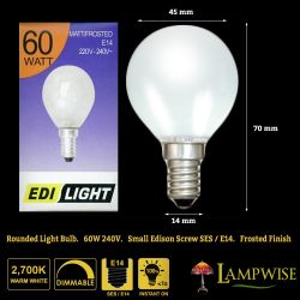 60 Watt Edi Light Opal Round Bulb SES E14 Small Edison Screw
