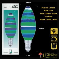 Eglo 40 Watt Blue & Green SES E14 Painted Candle