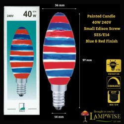 Eglo 40 Watt Blue&Red SES E14 Painted Candle