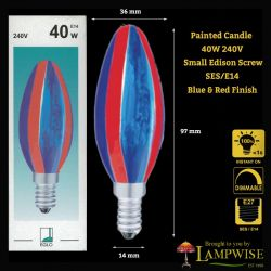 Eglo 40 Watt Blue & Red SES E14 Painted Candle