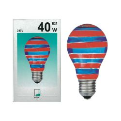 EGLO 85933 40W 240V ES E27 GLS Blue Red Horizontal Coloured Painted Light Bulb
