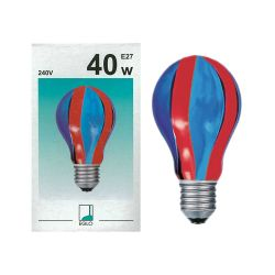 EGLO 85936 40W 240V ES E27 GLS Blue Red Vertical Coloured Painted Light Bulb