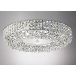 Diyas IL31202 Enya Polished Chrome/Crystal 9 Light Flush Ceiling Light