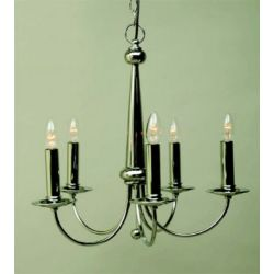 Crimway Lighting EZE 5 Light Nickel Chandelier