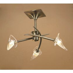 Mantra M0306AB Flavia Semi Ceiling Round 3 Light G9, Antique Brass