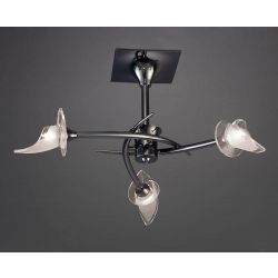 Mantra M0306BC Flavia Semi Ceiling Round 3 Light G9, Black Chrome