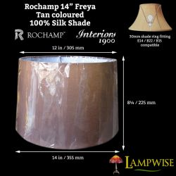 Interiors 1900 Rochamp Freya 14in Tan Tapered Drum Silk Shade