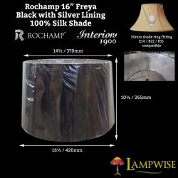Interiors 1900 Rochamp Freya 16in Black w/ Silver Lining Tapered Drum Silk Shade