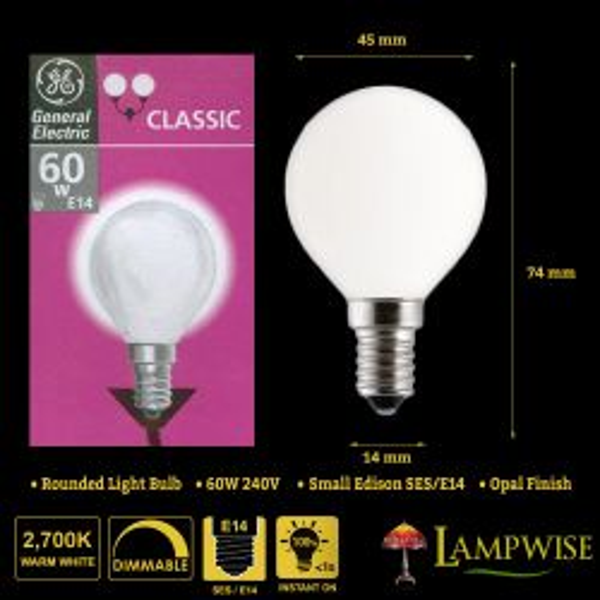 GE 60W 240V SES E14 Golf Ball Round Opal Light Bulb