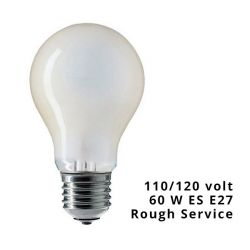 GE 110-120V A60 FR 60W ES E27 Frosted GLS Low Voltage Rough Service Light Bulb