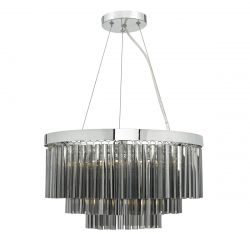 Dar Lighting GIO0510 Giovana 5 Light 3 Tier Pendant Polished Chrome/Smoked