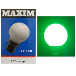 Round LED Green Coloured 1-2W 240V BC B22 Golf Ball Light Bulb