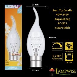 LUXRAM 40W 240V BC B22 CLEAR FLARE FLAME BENT TIP CANDELUX CANDLE LIGHT BULB