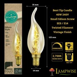 Eglo 40W 240V SES/E14 Vintage Twisted Filament Flame Bent Tip Candle Light Bulb