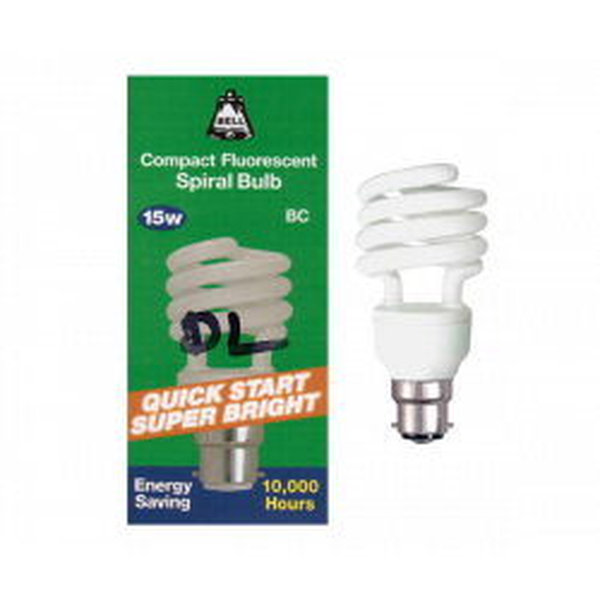 Bell Lighting Compact Fluorescent 15w BC B22 Spiral Bulb (DAYLIGHT)