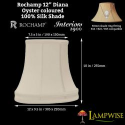 Interiors 1900 Rochamp Diana 12in Banded Oval Oyster Silk Shade