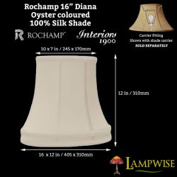 Interiors 1900 Rochamp Diana 16in Banded Oval Oyster Silk Shade