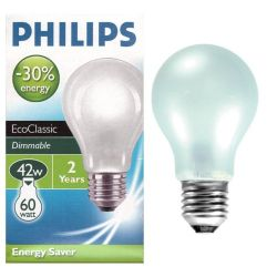 Philips EcoClassic 42w ES E27 Opal GLS Light Bulb