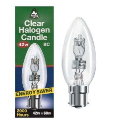 BELL 05204 - 42W 240V BC B22 Halogen 35mm Clear Candle, Warm White 2700K
