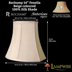 Interiors 1900 Rochamp Fenella 14in Beige Silk Shade