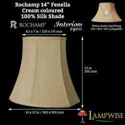 Interiors 1900 Rochamp Fenella 14in Cream Silk Shade