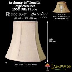 Interiors 1900 Rochamp Fenella 18in Beige Silk Shade