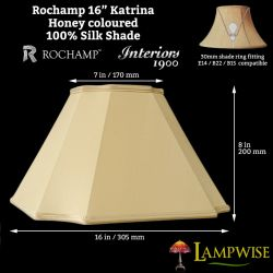 Interiors 1900 Rochamp Katrina 16in Honey Square Cut Corner Silk Shade