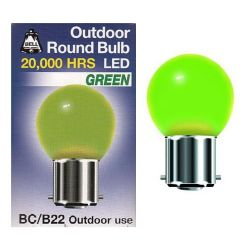 Bell 1 Watt BC B22 Green Outdoor Round Bulb Led