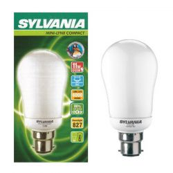 Sylvania 11W = 60W BC B22 CFL Mini-Lynx Compact Lamp, Warm White