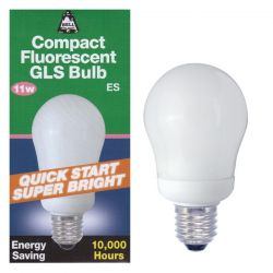 BELL 00753 - 11W = 60W ES E27 Energy Saver CFL GLS Warm White Light Bulb