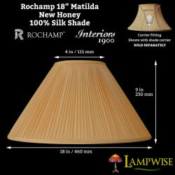 Interiors 1900 Rochamp Matilda 18in New Honey Mushroom Pleat Coolie Silk Shade
