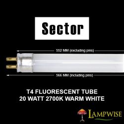 Sector / Robus 20W 552mm T4 Fluorescent Tube, Warm White 2700K