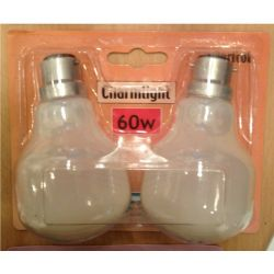 Crompton 60W 240V BC/B22 Charmlight Apricot T-Shape Light Bulbs Twin Pack