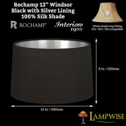 Interiors 1900 Rochamp Windsor 12in Oval Drum Black/Silver Silk Shade