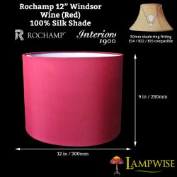 Interiors 1900 Rochamp Windsor 12in Oval Drum Wine (Red) Silk Shade