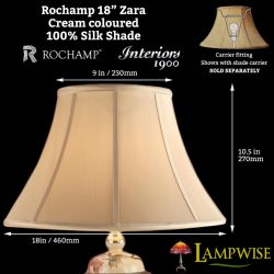 Interiors 1900 Rochamp Zara 18in 460mm Bowed Empire Cream Silk Shade
