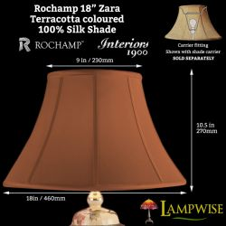 Interiors 1900 Rochamp Zara 18in 460mm Bowed Empire Terracotta Silk Shade