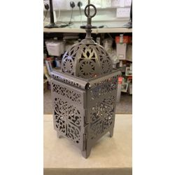 Non Electrical Grey Standing/Hanging Lantern suitable for tealights/candles