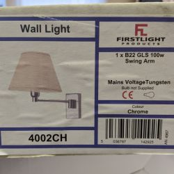 Firstlight 4002CH Chrome Swing Arm Wall Light with Fabric Shade