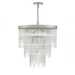 Dar Lighting ISL3450 Isla 7 Light Pendant Polished Chrome/Clear