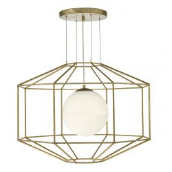 Dar Lighting IZMIR 1LT PEND HEXAGONAL GOLD EFFECT OPAL GLASS