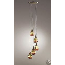 DAR Jocasta 5 Light Tiffany Multi Cluster Pendants