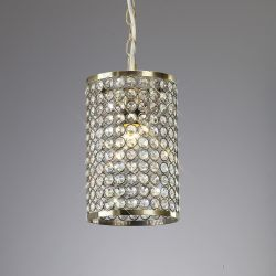 Diyas IL60030 Kudo Antique Brass/Crystal Non-Electric Crystal Cylinder Shade