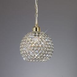 Diyas IL60032 Kudo Antique Brass/Crystal Non-Electric Crystal Ball Shade
