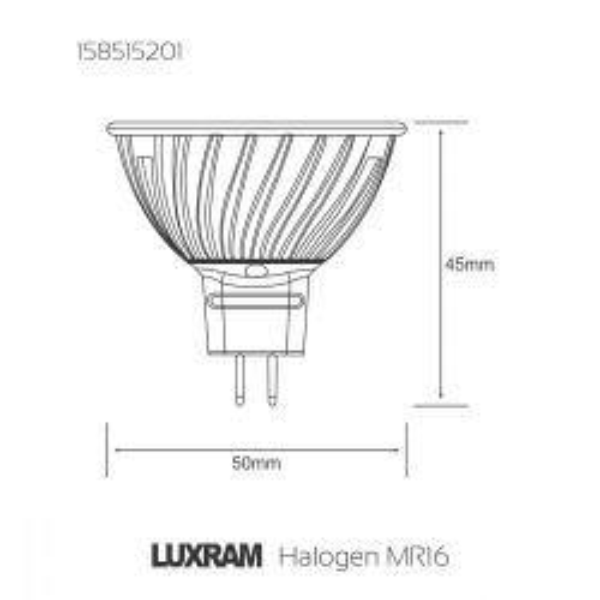 Luxram MR16 Dichroic Red 12V 20W Halogen Spot Lamp, 38° beam