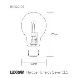 Luxram 105W = 135W Eco Halogen BC B22 GLS Warm White Dimmable Clear Light Bulb
